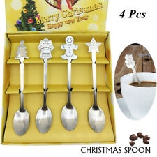 4Pcs Stainless Steel Christmas Spoons Ice Cream Dessert Coffee Tea Spoon Gift