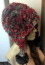 red grey black real genuine rabbit fur knitted pom pom hat head warmer unisex