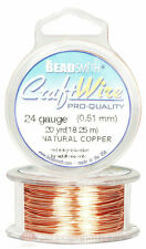 Natural Copper 24GA Round Craft Wire Jewelry Beading Wrapping Jump Rings 20 Yds