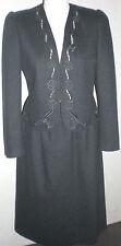 Vintage 80s Sasson Suit Skirt Jacket Charcoal Gray Wool Blend Trim Sz 10