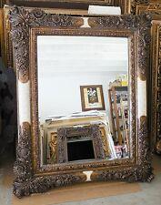"Large Ornate Wood/Hard Resin ""44x54"" Rectangle Beveled Framed Wall Mirror"