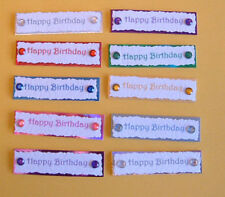 20 3D Birthday Word Toppers with Gems(self adhesive) Card Embellishments
