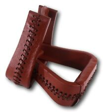 D.A. Brand Chestnut Bell Bottom Rawhide Covered Western Stirrups Horse Tack
