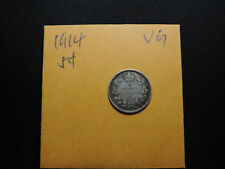 1914 5 Cent Coin Cadana King George V Five Cents .925 Silver VG Condition