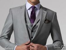 Light Grey 3 Pieces Sim Fit Best Man Groomsman Men's Wedding Prom Suits Custom++