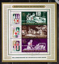 Burundi African Rad Cross Hospital Nursses Doctoors Souvenir Sheet 1969