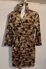 NEW Womens Fleece Hooded Bath Robe Large / XL Plush Short Spa Camouflage Stars