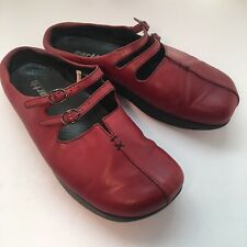 Earth Kalso Kharma Rosso Red Leather Slip On Mary Jane Mules Shoes Womens Sz 7 B
