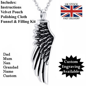 Angel Wing Cremation Ashes Necklace Urn, **FREE ENGRAVING**