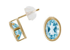 Oval Ear studs with Blue topaz, 585 Gold