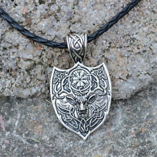 Viking Amulet Runes Animal Deer Pendant Slavic Talisman Necklace Men Jewelry