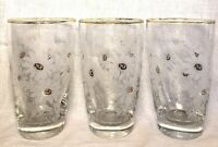 Vintage Libbey Clear Drinking Glasses White Daisies Gold Tone Rim 12 oz Set of 3