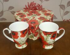 The Leonardo Collection Red Poppies Mugs      (pt22)