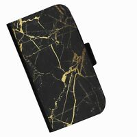 BG71 GOLD BLACK MARBLE PRINTED LEATHER WALLET/FLIP  CASE COVER FOR MOBILE PHONE
