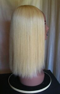 """100% Virgin Remy Human Hair Wiglet Topper 2 shades of blonde 17"""" long NEW"""