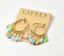 Lauren Ralph Lauren Ladies Hoop Earrings Semi Precious Stone Crystals Pearls