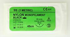 5/0 NYLON BLACK MONOFILAMENT 45cm SUTURES FOR TRAINING USE 18mm NEEDLE 12pcs NEW