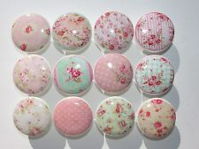 Set of 12 Shabby Pink Cottage Roses Dresser Drawer Knobs Group 2
