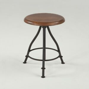 """20"""" T Stool Hand Crafted Recycled Hardwood Seat Industrial Iron Base"""