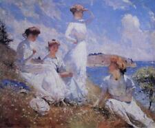Vintage Collograph Frank F Benson Summer Edwardian Ladies in White #S101