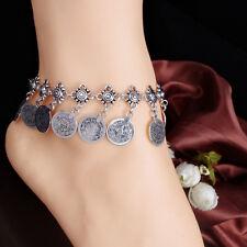Silver Boho Gypsy Coin Anklet Ankle Bracelet Foot Chain Women Jewelry-L