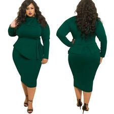 Sexy Women Plus Size Dress Bodycon Evening Cocktail Skirt Long Sleeve Clothing