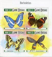 Guinea-Bissau 2015 estampillada sin montar o nunca montada Mariposas 4v m/s Insectos Rojo almirante Borboletas sellos