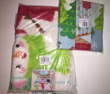 ST.NICHOLAS SQUARE Penguin/Snowman/Tree Shower Curtain & Snowman Bath Rug NWT