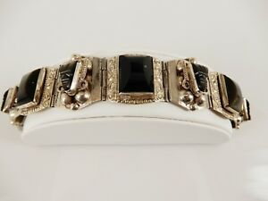 "Fine Old Sterling Silver And Onyx Signed Taxco Hinged Panel Bracelet 7"" Mexico"