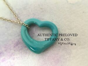Mint Authentic Tiffany & Co Elsa Peretti Small Open Heart Turquoise Necklace