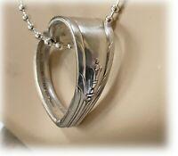 Vtg Silverplate HEART Pendant Spoon Jewelry, Bead Link Chain Necklace LYNNWOOD