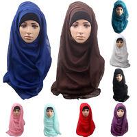 AU/_ Womens Muslim Hijab Amira Islamic Solid Soft Scarf Long Hejab Head Shawls Ex