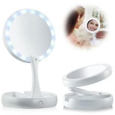 Double-Sided LED Lighted Foldable Vanity 1X/10X Magnifying Makeup Mirror