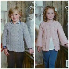 KNITTING PATTERN Childrens Long Sleeve Cable Jumper & Jacket Chunky KC 4512