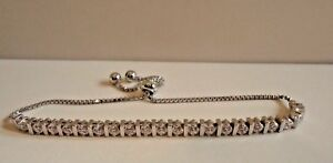 LARIAT BRACELET W/ ROUND LAB DIAMONDS/ 925 STERLING SILVER  / 9'' ADJUSTABLE