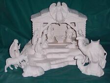 Ceramic Bisque Ready to Paint  Nativity Set on Base electric included