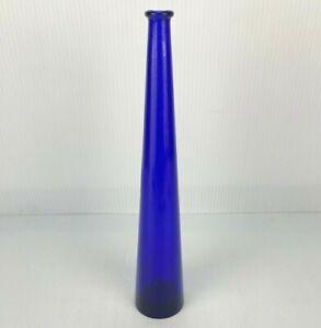 """VINTAGE COBALT BLUE GLASS 12-1/4"""" SINGLE STEM FLOWER VASE!"""