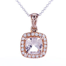 1.50CT Cushion Morganite and Diamond Pendant 14K Rose Gold