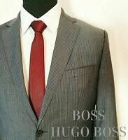 Hugo Boss Anzug Gestreifter Grau Gr. 46 The Jam/Sharp 100% Wolle 900€ Herren