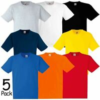 5 Pack Fruit of the Loom Heavy Cotton Plain T-shirts Blank Short Sleeve Tee Top