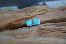 OPAL Earrings  6mm Blue Square Stud Post - 925 Sterling Silver - Butterfly Clasp