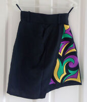 Liliane Romi black linen skort with abstract print - Size Fr 36