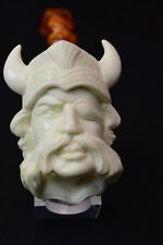 I Baglan Viking Head Pipe New Block Meerschaum W Case+Stand#538