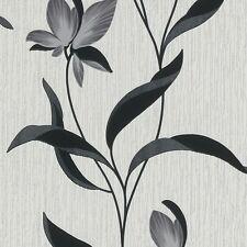 Feuille Fleur Gris Noir Paillettes Fleur Floral Papier Peint Texturé 9730-15