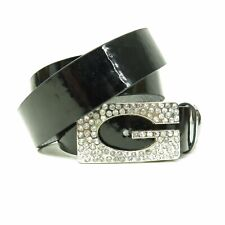 cc15e6672a6 Guess Black Faux Patent Leather Monogram Rhinestone Bling Rocker Glam Belt  SZ M