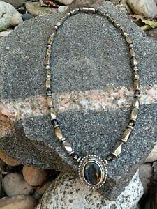 Silver Magnetic Hematite Black MAG-PENDANT Bracelet Necklace w Granite SWAROVSKI