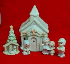 Precious Moments Sugar Town CHAPEL Lighted Building Set w PREACHER & NATIVITY