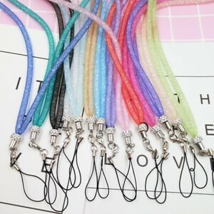 Universal Long Bling Crystal Cell Phone ID Card Neck Lanyard Strap AU