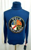 NWT Polo Ralph Lauren Mens Sweater Small Downhill Skier Turtleneck Cookie Patch