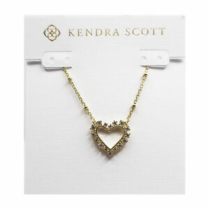Kendra Scott Ari Open Heart Pendant Necklace in White Crystal and Gold